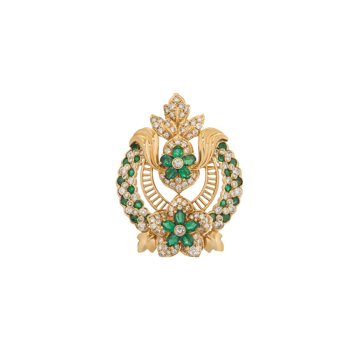 Yellow Gold Diamond And Emerald Floral Pendant/Brooch
